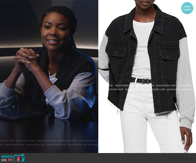 Morton Mixed Media Military Jacket by All Saints worn by Sydney Burnett (Gabrielle Union) on LA's Finest