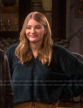 Allie's green shearling hoodie on Days of our Lives