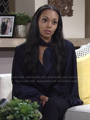 Amanda's navy scarf blouse on The Young and the Restless