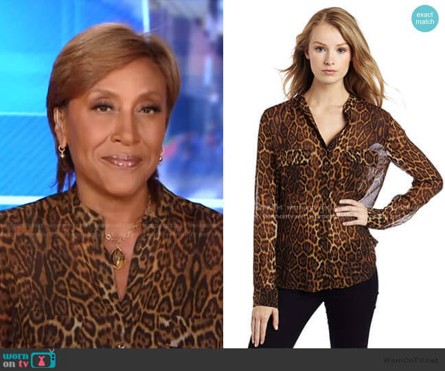 Anderson Leopard Blouse With Cargo Pockets by Bcbgmaxazria worn by Robin Roberts  on Good Morning America