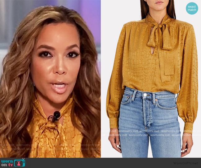 Delilah Tie-Neck Jacquard Blouse by Anine Bing worn by Sunny Hostin  on The View