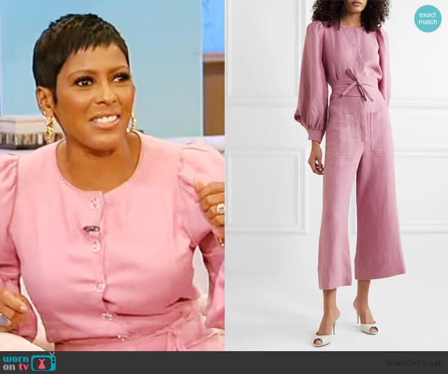 Jane belted linen jumpsuit by Anna Mason worn by Tamron Hall  on Tamron Hall Show