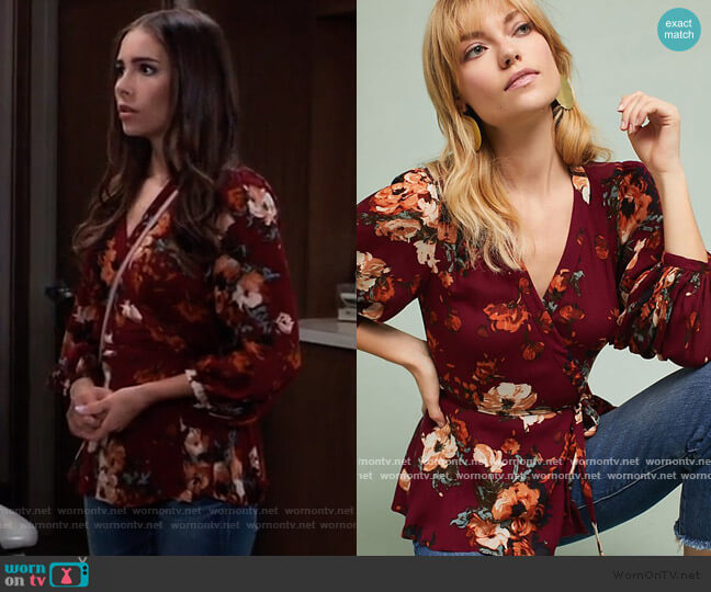 Anthropologie Gail Wrap Blouse worn by Molly Lansing-Davis (Haley Pullos) on General Hospital