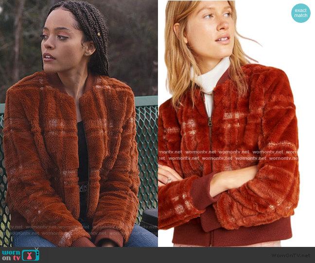 Brown Plaid Teddy Bomber Jacket by Anthropologie worn by Tabitha Foster (Quintessa Swindell) on Trinkets