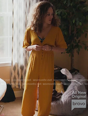 Ashley's yellow button front jumpsuit on The Real Housewives of Potomac