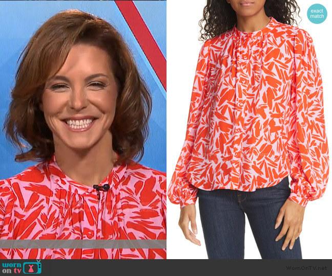 Ashlynn Graphic Silk Blend Blouse by Veronica Beard worn by Stephanie Ruhle on Today