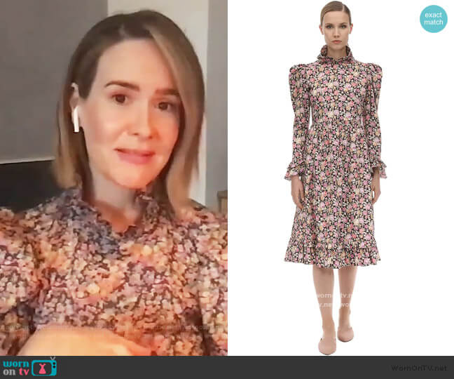 Floral Printed Cotton Midi Dress by Batsheva worn by Sarah Paulson on Live with Kelly and Ryan