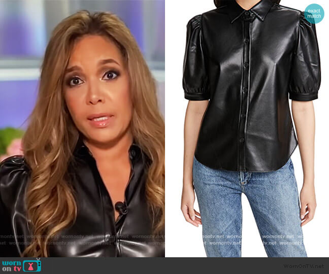 Vegan Leather Puff Sleeve Top by BB Dakota worn by Sunny Hostin  on The View