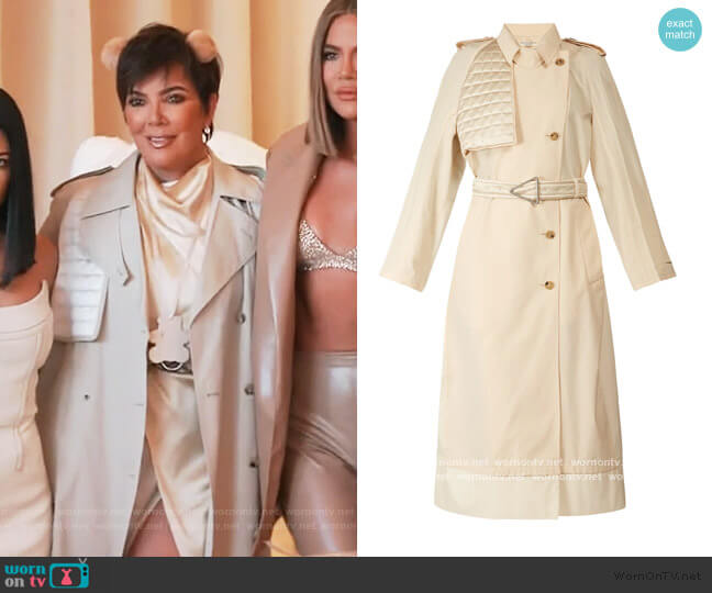 Contrast-panel belted trench coat by Bottega Veneta worn by Kris Jenner  on Keeping Up with the Kardashians