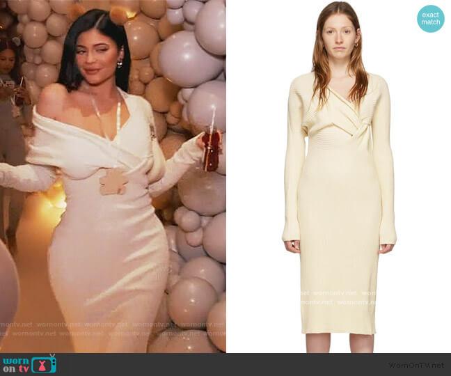Off-White Draped Knit Dress by Bottega Veneta worn by Kylie Jenner  on Keeping Up with the Kardashians