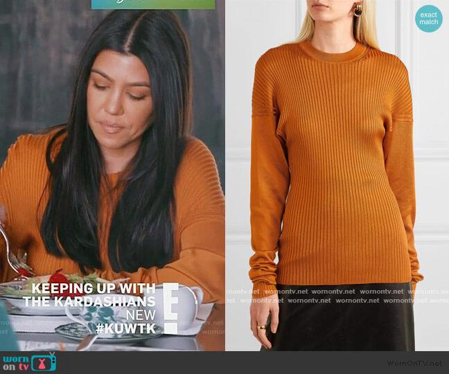 Paneled ribbed silk sweater by Bottega Veneta worn by Kourtney Kardashian  on Keeping Up with the Kardashians