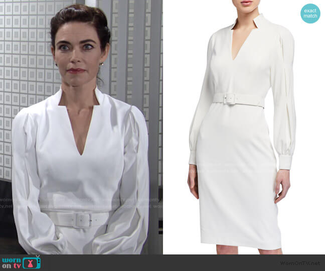 Poet Long-Sleeve Notch-Neck Belted Dress by Badgley Mischka Collection worn by Victoria Newman (Amelia Heinle) on The Young & the Restless