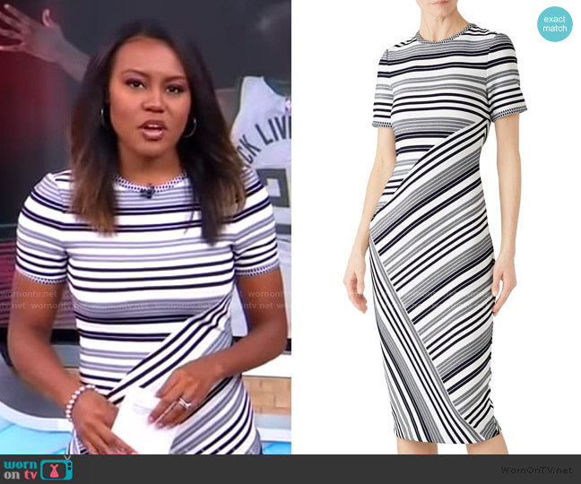 Striped Sheath Dress by Badgley Mischka worn by Janai Norman  on Good Morning America
