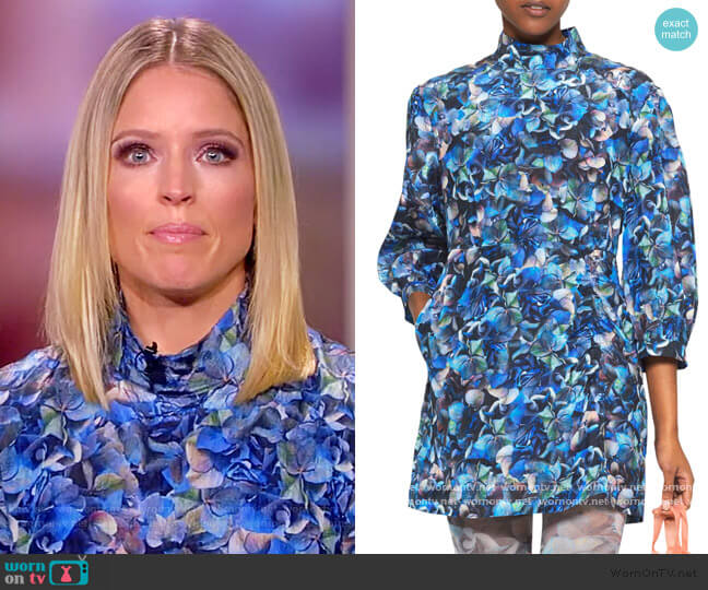 AAliah High-Neck Printed Ruched Dress by Baum und Pferdgarten worn by Sara Haines  on The View