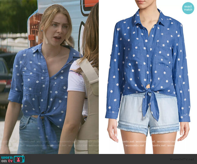 Tie-Front Linen & Cotton Shirt by Bella Dahl worn by Sterling Wesley (Maddie Phillips) on Teenage Bounty Hunters