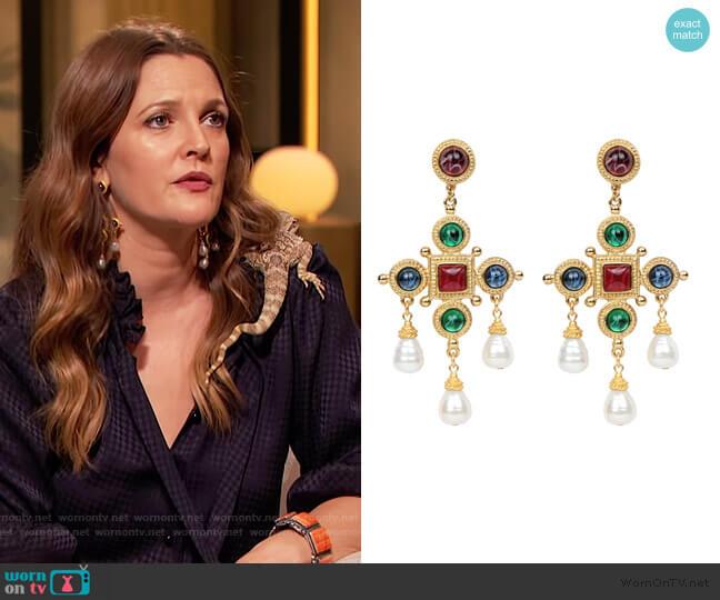 Cross & Pearly Dangle Earrings by Ben-Amun worn by Drew Barrymore  on The Drew Barrymore Show