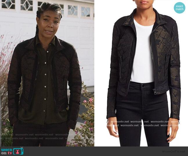 Camo Mesh Moto Jacket by Blanc Noir worn by Sydney Burnett (Gabrielle Union) on LA's Finest