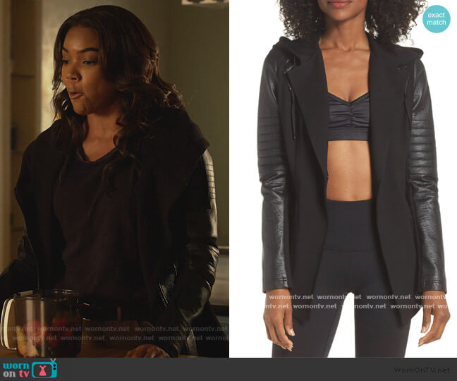 Hooded Moto Blazer with Faux Leather Sleeves by Blanc Noir worn by Sydney Burnett (Gabrielle Union) on LA's Finest