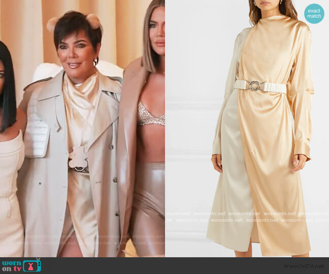 Two-Tone Draped Silk-Blend Midi Dress by Bottega Veneta worn by Kris Jenner  on Keeping Up with the Kardashians