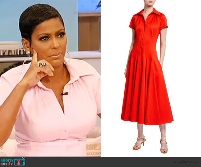 Stretch Pique Tea-Length Dress by Brandon Maxwell worn by Tamron Hall  on Tamron Hall Show