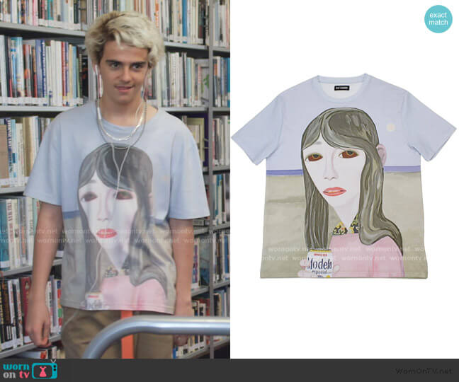 Brian Calvin T Shirt by Raf Simons worn by Fraser Wilson (Jack Dylan Grazer) on We Are Who We Are