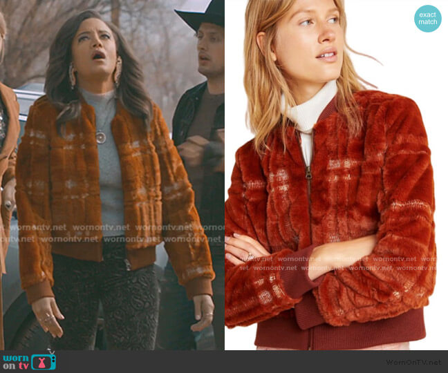 Plaid Teddy Bomber Jacket by Anthropologie worn by Maria DeLuca (Heather Hemmens) on Roswell New Mexico