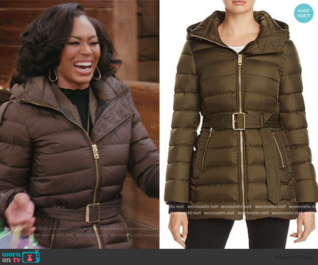 Limefield Belted Down Puffer Coat by Burberry worn by Monique Samuels  on The Real Housewives of Potomac