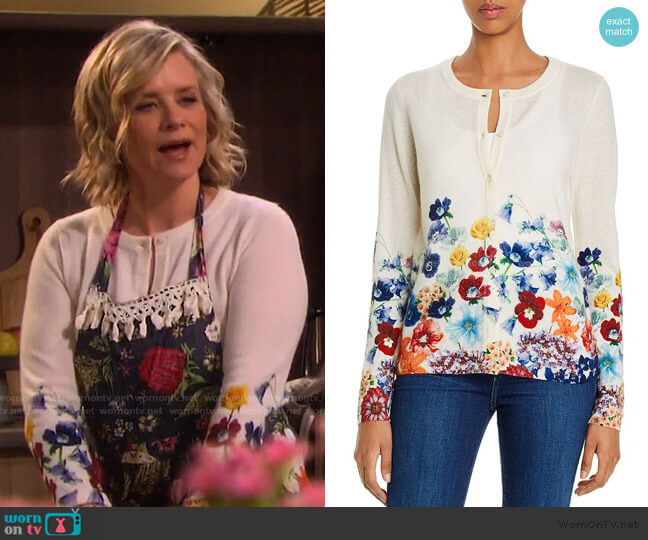 Floral Cashmere Cardigan by C by Bloomingdale's worn by Kayla Brady (Mary Beth Evans) on Days of our Lives