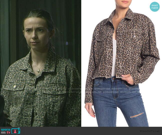 Cheetah Print Crop Cutoff Denim Jacket by Free People worn by Blair Wesley (Anjelica Bette Fellini) on Teenage Bounty Hunters