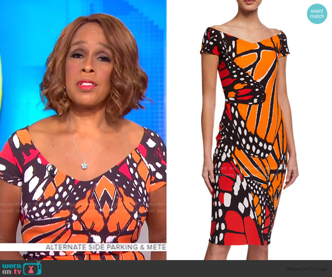 Sally Cap-Sleeve Butterfly Dress by Chiara Boni La Petite Robe worn by Gayle King  on CBS This Morning