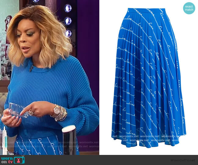 Monogram Print Skirt by Chinti and Parker worn by Wendy Williams  on The Wendy Williams Show