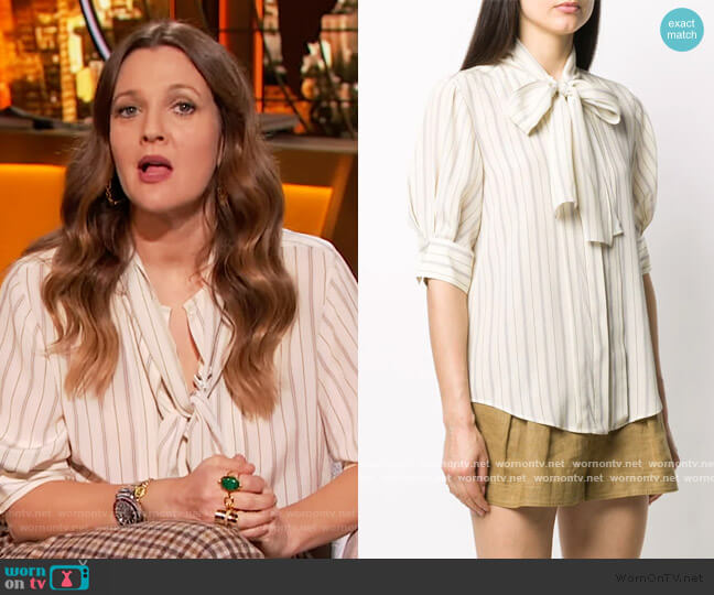 Striped Pussy-bow Blouse by Chloe worn by Drew Barrymore  on The Drew Barrymore Show