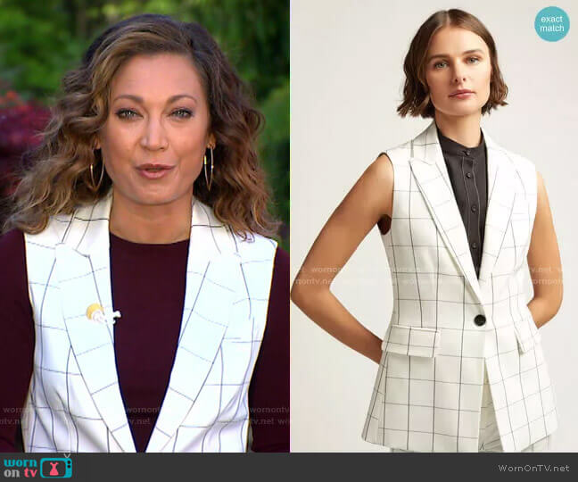 Classic Grid Plaid Vest by Argent worn by Ginger Zee  on Good Morning America