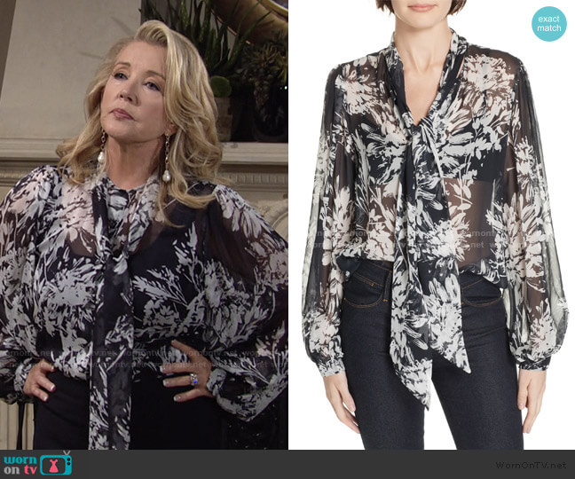 Cleone Tie Neck Sheer Floral Silk Blouse by Equipment worn by Nikki Reed Newman (Melody Thomas-Scott) on The Young & the Restless