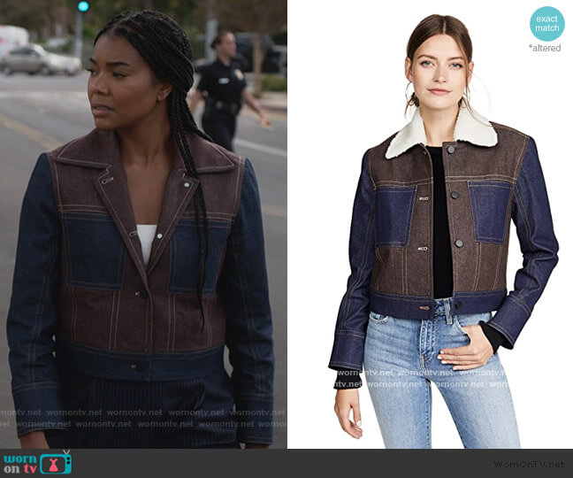 Camo Mesh Moto Jacket by Blanc Noir worn by Sydney Burnett (Gabrielle Union) on LA's Finest