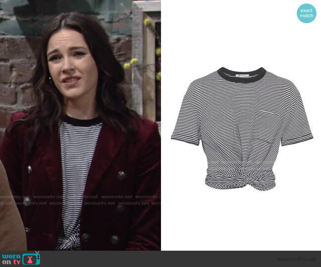 Cropped Twist-front T-shirt by T by Alexander Wang worn by Tessa Porter (Cait Fairbanks) on The Young & the Restless