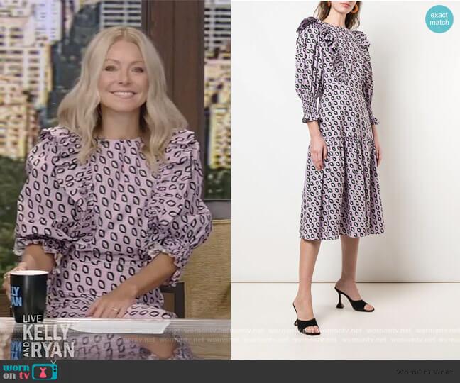 Campbell Ruffled Midi Dress by Cynthia Rowley worn by Kelly Ripa  on Live with Kelly & Ryan