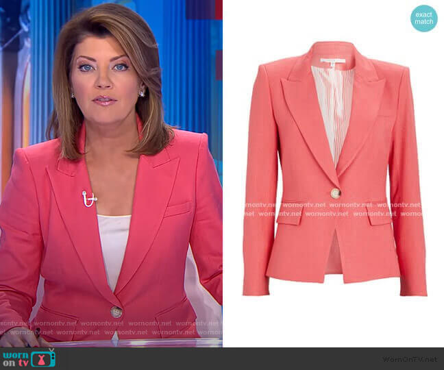 Danielle Dickey Blazer by Veronica Beard  worn by Norah O'Donnell  on CBS Evening News