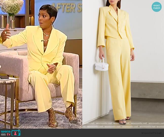 Freida cropped woven blazer and pants by De La Vali worn by Tamron Hall  on Tamron Hall Show