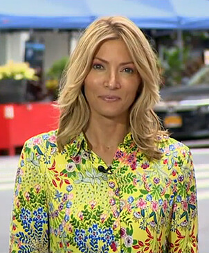 Deirdre Bolton's yellow floral blouse on Good Morning America