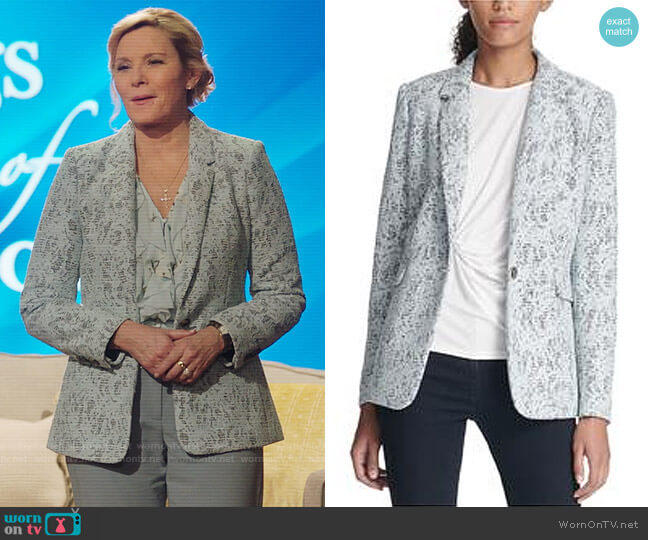 DKNY Bonded Lace One Button Blazer Jacket worn by Margaret Monreaux (Kim Cattrall) on Filthy Rich