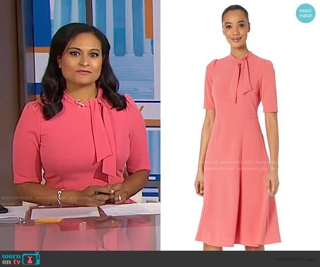 Tie Neck Fit and Flare Dress by Donna Morgan worn by Kristen Welker  on Today
