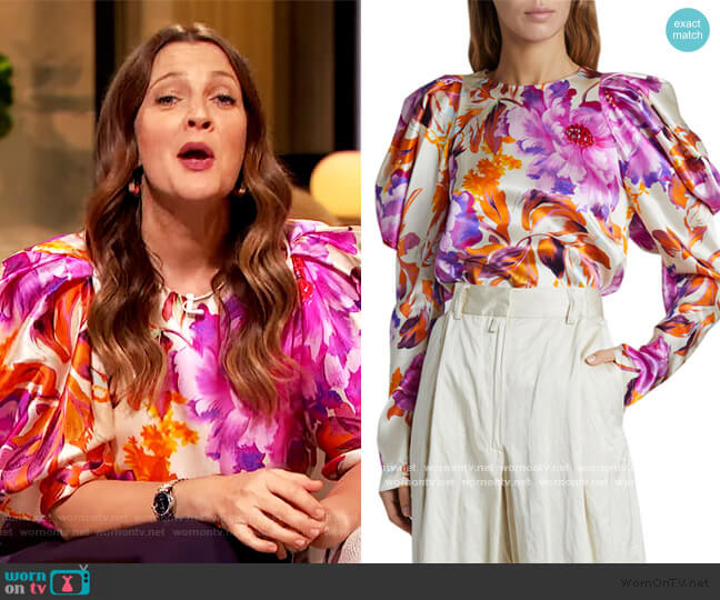 Coal Puff-Sleeve Floral Satin Top by Dries Van Noten worn by Drew Barrymore  on The Drew Barrymore Show
