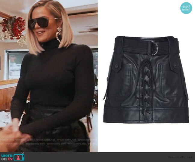 Belted Lace-Up Leather Mini Skirt worn by Khloe Kardashian  on Keeping Up with the Kardashians