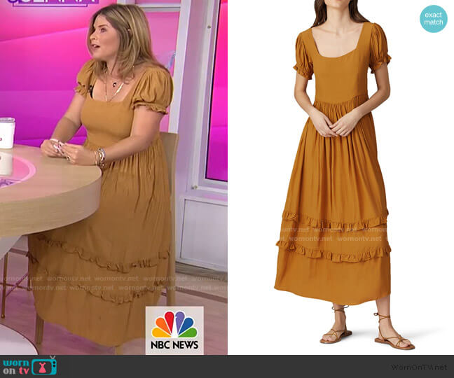 Eliza Ruffle Maxi Dress by The Odells worn by Jenna Bush Hager  on Today