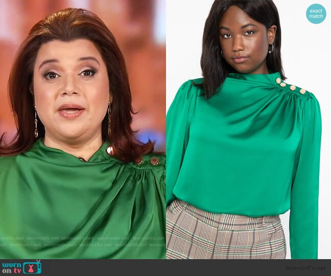 Satin Button Shoulder Top by Eloquii worn by Ana Navarro  on The View