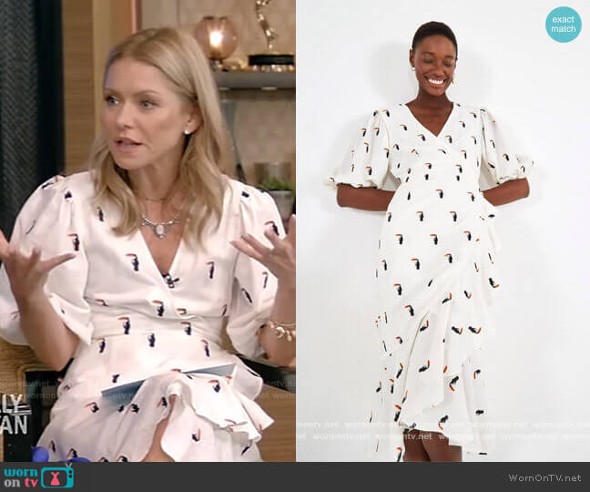 Embroidered Tucano Wrap Dress by FARM Rio worn by Kelly Ripa  on Live with Kelly & Ryan