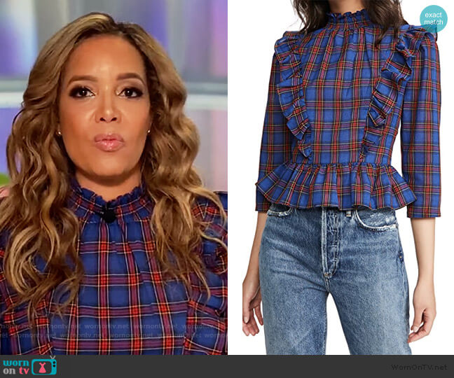 Plaid Top by English Factory worn by Sunny Hostin  on The View