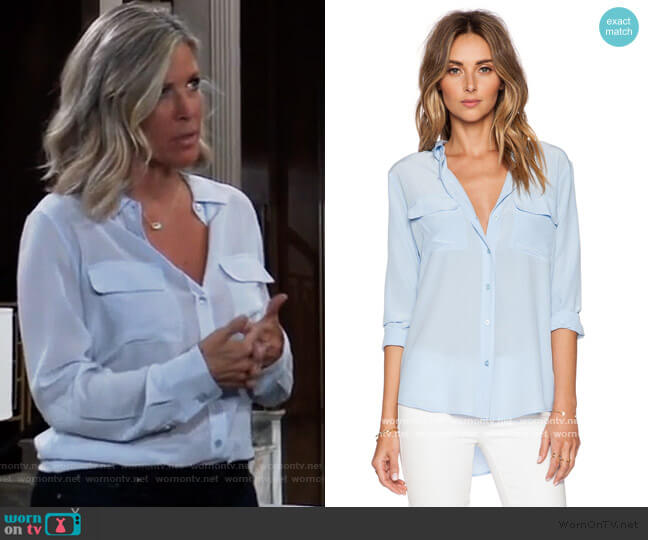 Slim Signature Blouse in Periwinkle Blue by Equipment worn by Carly Corinthos (Laura Wright) on General Hospital