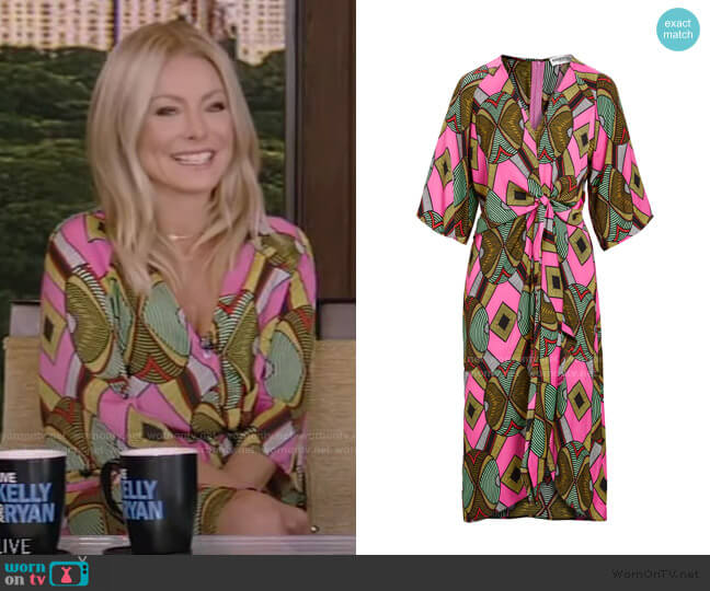 Wakuna Knotted Midi Dress by Essentiel Antwerp worn by Kelly Ripa  on Live with Kelly & Ryan